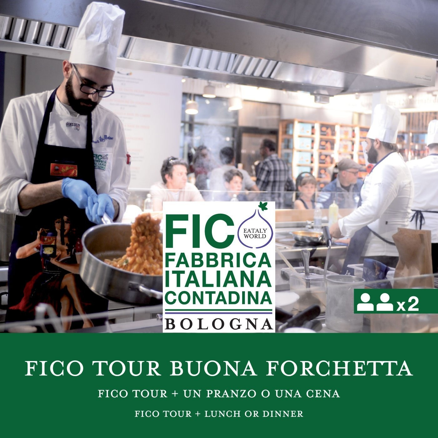 FICO Tour e Pranzo o Cena x2 persone