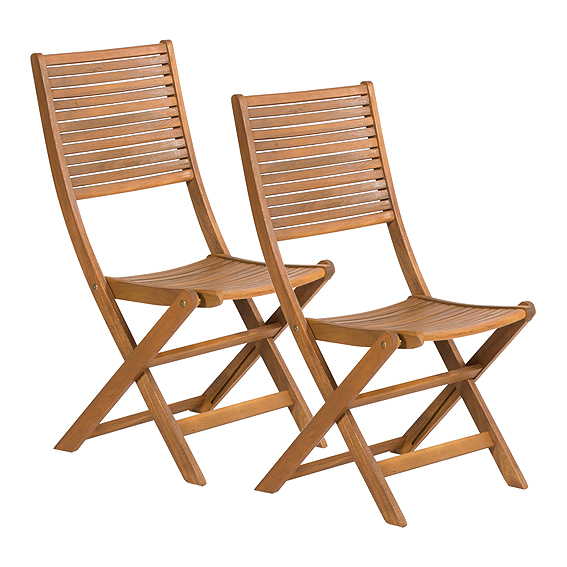 2 sedie pieghevoli in legno di acacia