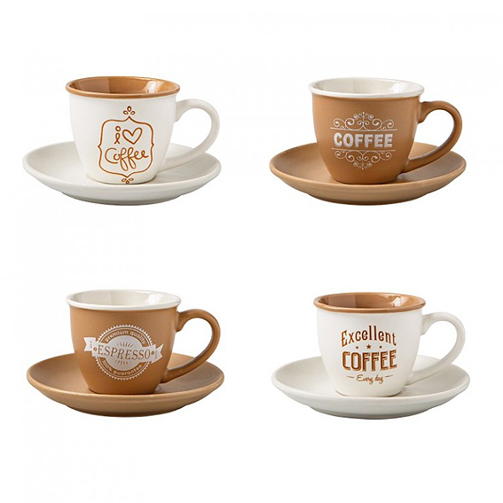 Set di 4 tazzine Caffè assortite